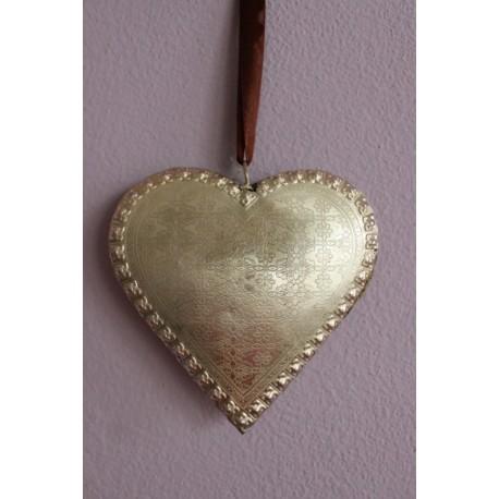 Plechové srdce stříbrné