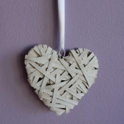 Proutěné srdce bílé velké
