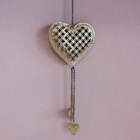Vánoční ozdoba stříbrná - srdce