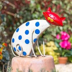 Dekorace do zahrady - kočka puntíkatá
