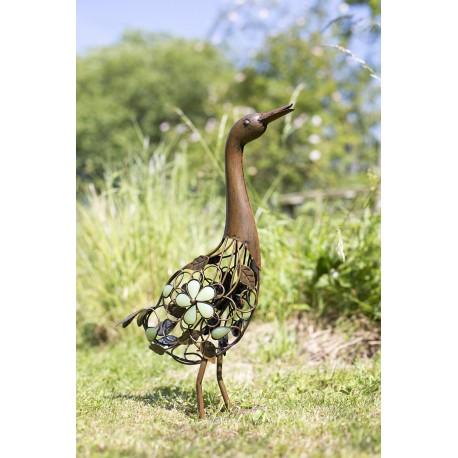 Kovová kachna - dekorace k zahradnímu jezírku