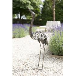 Kovová volavka - dekorace k zahradnímu jezírku