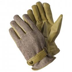 Stylové pánské pracovní rukavice - rybí kost hnědá
