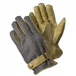 Stylové pánské pracovní rukavice - rybí kost šedá