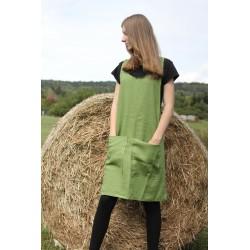 Lněná zástěra japonského stylu - zelená