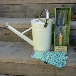 Sada - konev, zahradnická vidlička a rukavice (zelená, bílá)