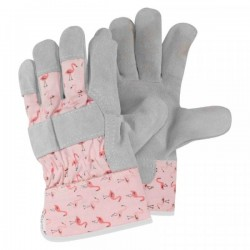 Dámské pracovní rukavice kožené - plameňáci