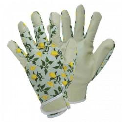 Dámské kožené rukavice se suchým zipem - lemon