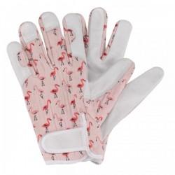 Dámské kožené rukavice se suchým zipem - plameňáci