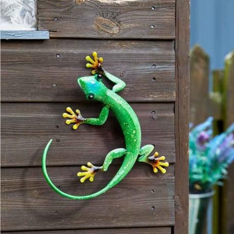 Dekorace na zahradní zeď/plot - ještěrka zelená