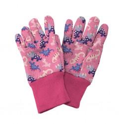 Dětské pracovní rukavičky Dinosaurus - růžové