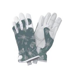 Dámské kožené rukavice - vážky zelené
