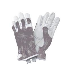Dámské kožené rukavice - vážky fialové