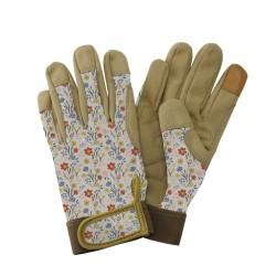 Dámské pracovní kožené rukavice - luční květy