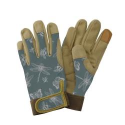 Dámské pracovní kožené rukavice - vážky zelené