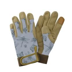 Dámské pracovní kožené rukavice - vážky modré