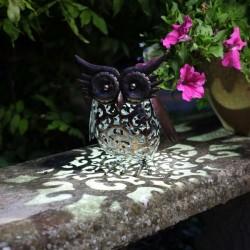 Dekorace do zahrady s LED osvětlením - sova