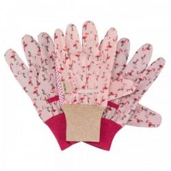 Pracovní rukavice bavlněné - plameňáci