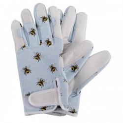 Dámské kožené rukavice se suchým zipem - včelky