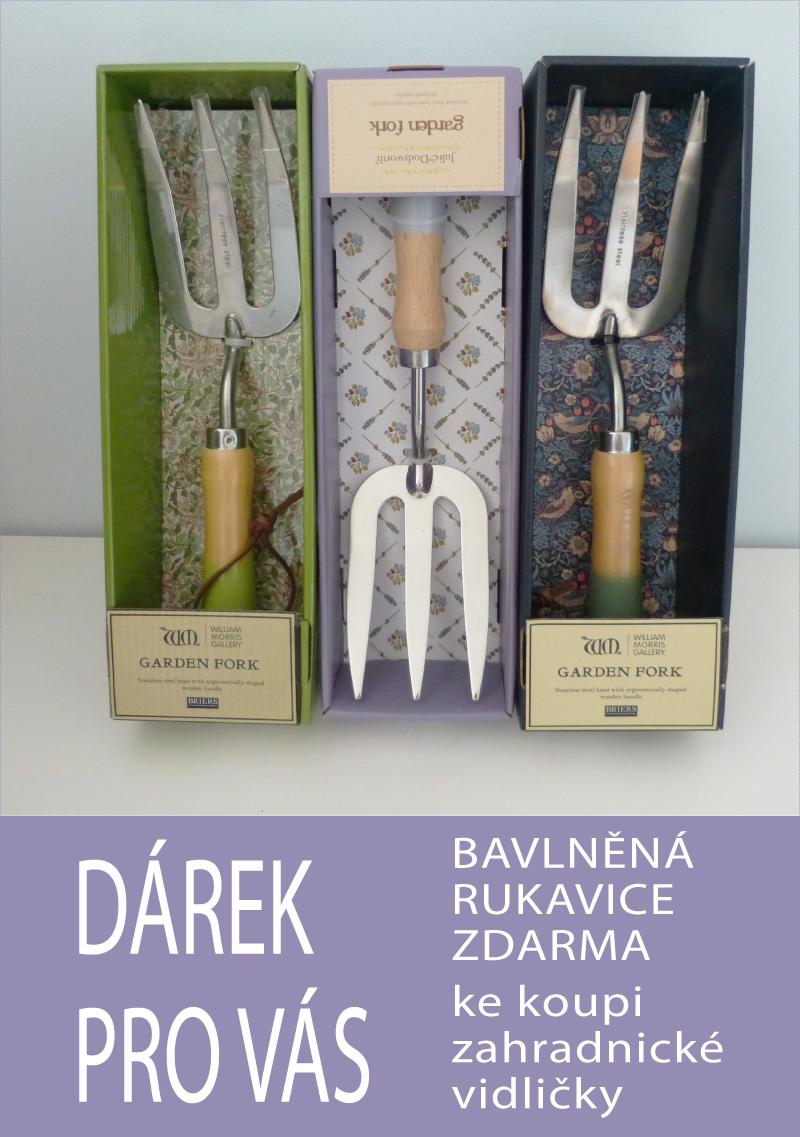 Dárek pro Vás bavlněné rukavice zdarma ke koupi zahradnické vidličky